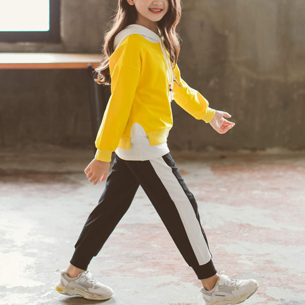 Childrens Girls Hooded Casual Sport Suits Solid Color Two-Piece Set
