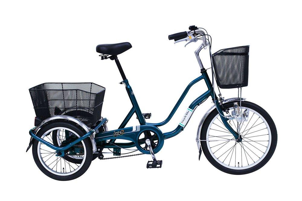 スイング機能付 20/16インチ 三輪自転車 ティールグリーン カゴライト前輪錠付き B07D7L8P6W