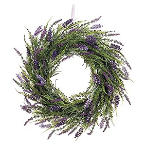 20 Inch Artificial Lavender Wreath On Twig Base 8