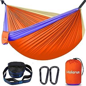 Holarun Hammock, Double Camping Hammock for 2 Adult Lightweight Parachute Hammock with 2 Tree Straps (16+2 Loops)& Carabiners, Portable Nylon Hammock for Kid, Backpacking, Hiking, Yard Garden, Travel