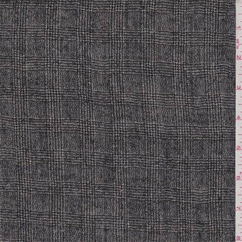 Black/Grey Glenplaid Wool Gauze, Fabric By the Yard (Wool Gauze)