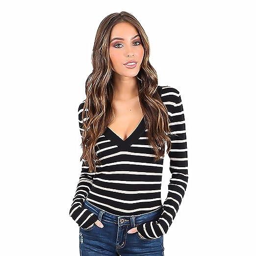 6a4238e2ecdf PAQOZ Blouse for Women Fashion 2019 Long Sleeve V-Neck Slim Stripe Pullover  T Shirt