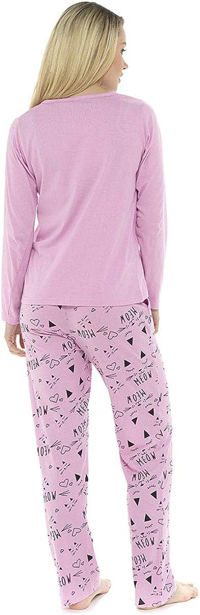Ladies 100/% Jersey Cotton Pussycat Print Pyjama Set Loungewear