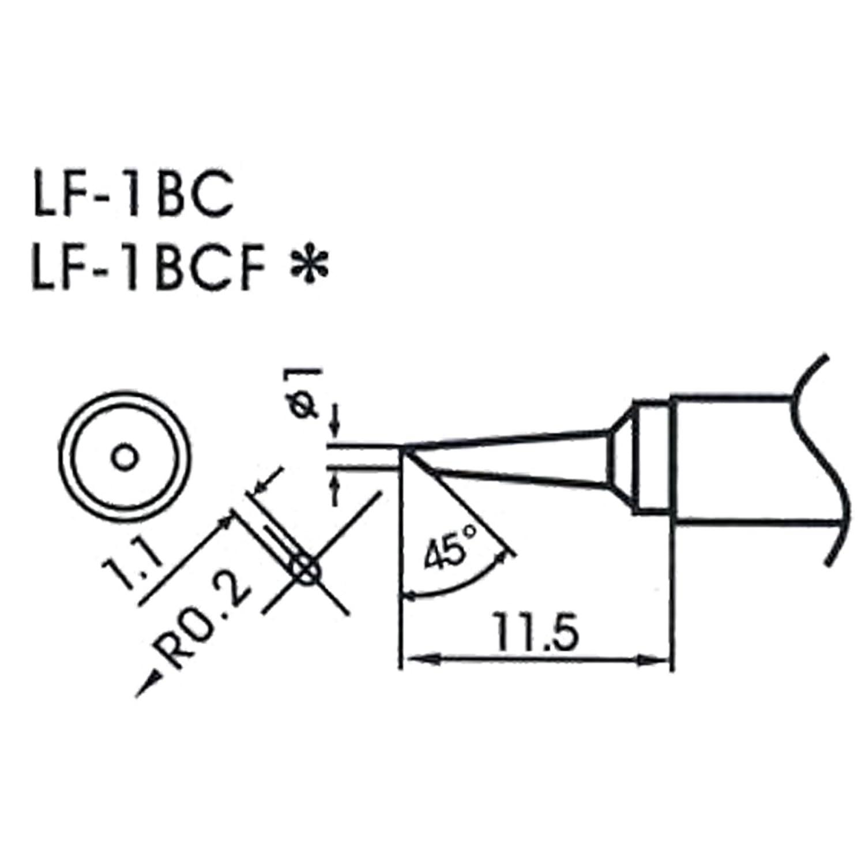 AOYUE WQ/LF-1BC bleifreie Lö tspitze Ø 1.0mm R0.2mm oval Lö tstation Lö tkolben