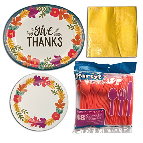 Thanksgiving Give Thanks Leaves and Flowers Oval Paper Plates (Large) - 10