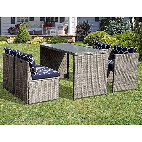 Orange Casual Patio Wicker Dining Set 5 Pieces Outdoor Furniture Sets  Garden Lawn Rattan Sofa Cu