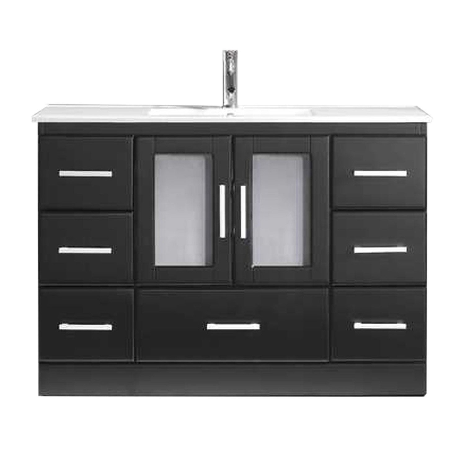 Virtu USA MS-6748-C-ES-001 Not Applicable Zola 48 inch single Bathroom Vanity In Espresso with White Ceramic Top & Square Sink with Brushed Nickel Faucet & Mirror
