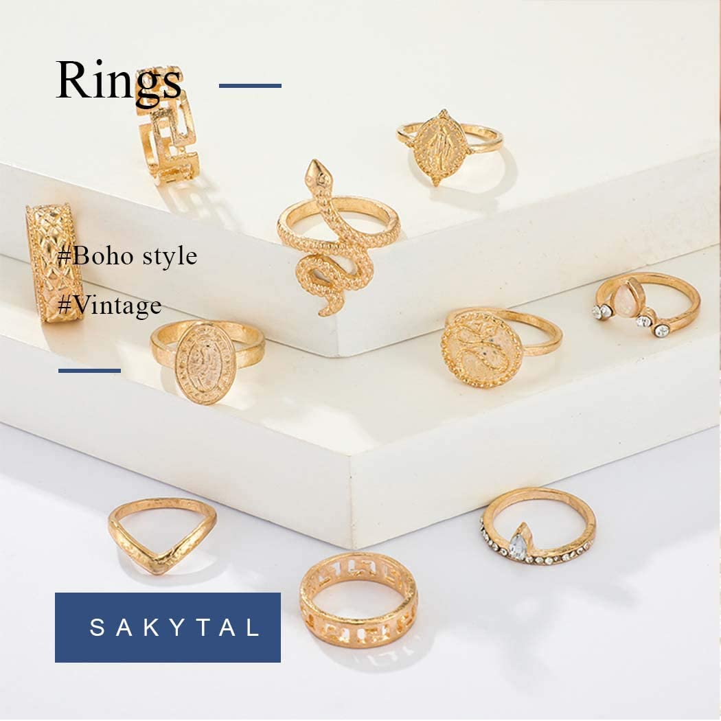 Sakytal Snake Knuckle Ring Set Stackable Midi Coin Finger Rings Crystal Joint Knuckle Rings Set Hand Accessories Jewelry for Women and Girls Pack of 10