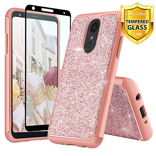TJS LG Stylo 4 2018/LG Stylo 4 Plus/LG Q Stylus/LG Q Stylus Plus/LG Q Stylus Alpha Phone Case, [Full Coverage Tempered Glass Screen Protector] Glitter Bling Cute Girls Women Design Heavy (Rose Gold) ()