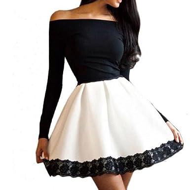 Feixiang Faldas, Vestido de Mujer Sexy Palabra Costura Encaje ...