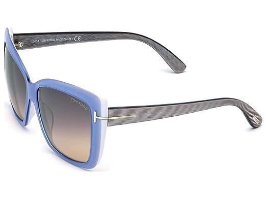 60c929bd7cc4 Tom Ford Irina Sunglasses in Shiny Light Blue FT0390 84Z 59 at Amazon  Women s Clothing store