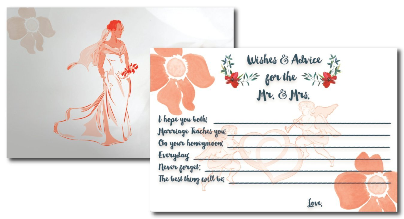 Bridal Advice and Well Wishes Cardsby L and P Designs | Classic Look With Orange Elegant Blossom | Bridal Shower Guest Book Alternative | 50 Card Set