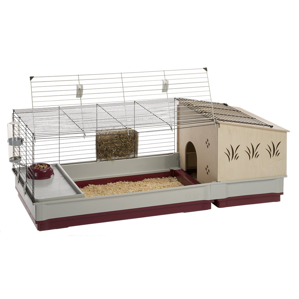 Krolik Extra-Large Rabbit Cage w/ Wood Hutch Extenstion | Rabbit Cage Includes All Accessories & Measures 55.9L x 23.62W x 19.68H & Includes ALL Accessories | 1-Year Manufacturer's Warranty by Ferplast