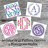 Personalized Vine or Circle Monogram Initials Sticker Decal for Yeti Cups, Laptops, Tumblers, Car Windows