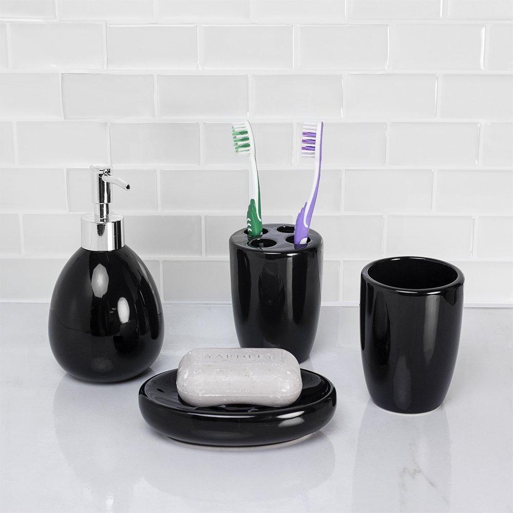 Black HDS Trading Corp BA41264 Home Basics 4 Piece Bath Accessory Set