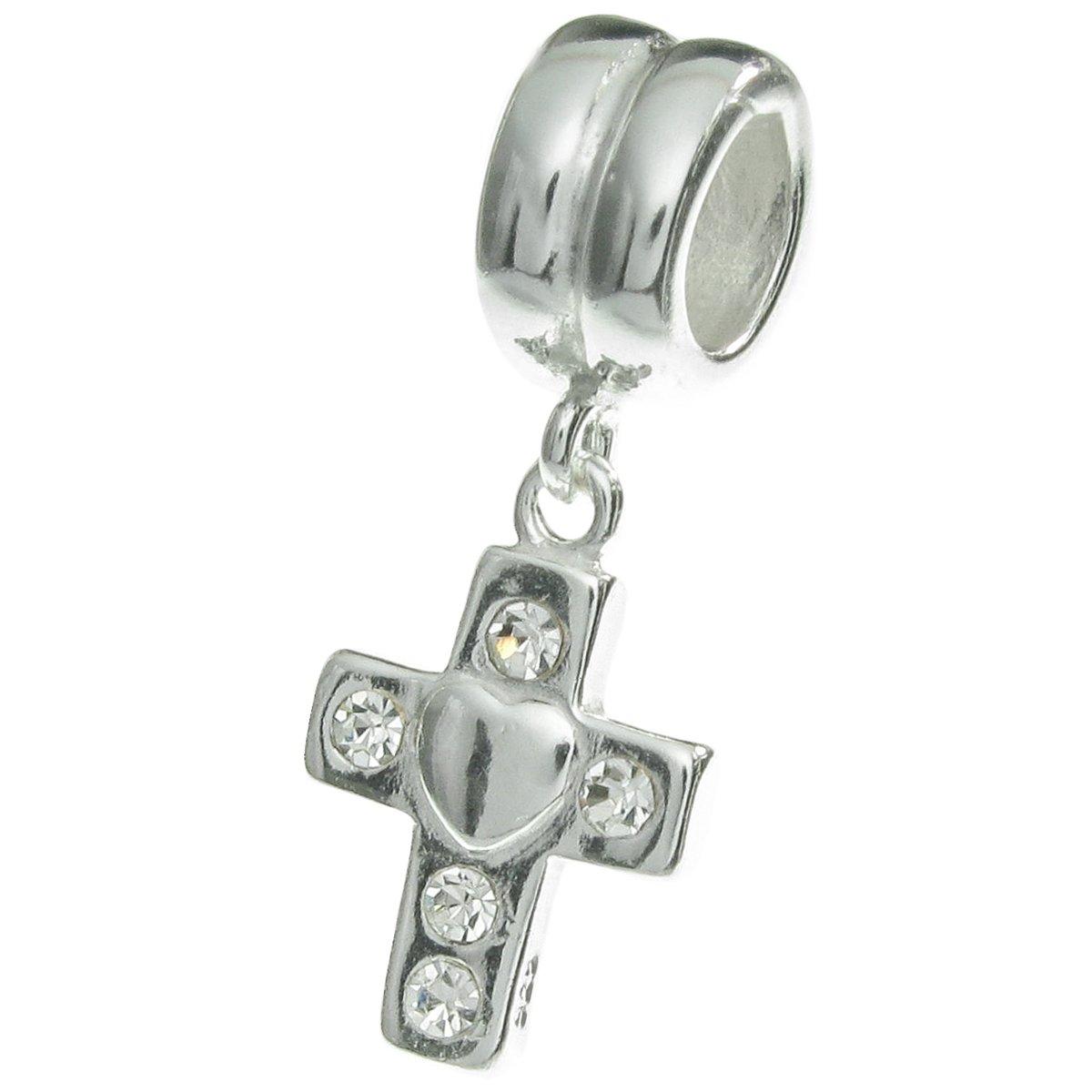 Croix Christ J/ésus Argent sterling 925/Cristal CZ transparent pour bracelets europ/éenne Bracelet /à breloques