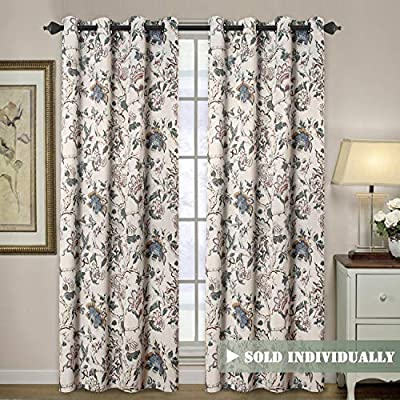 """H.VERSAILTEX Blackout Curtains for Living Room Thermal Insulated Curtain Drapes for Bedroom/Dining Vintage Floral Printed Grommet Draperies (1 Panel, 52"""" W x 96"""" L, Sage/Beige/Brown/Blue) - HYPOALLERGENIC MATERIAL: Crafted from microfiber fabric, soft, silky and smooth, skin-friendly, formaldehyde vinyl free, add the peaceful environment, you will definitely enjoy sweet dreams NATURAL BLACKOUT: This magic lovely individually sold curtain panels is thick enough and constructed with interwoven thermal technology, no chemical coating, while still can block out 90% sun light and prevent 100% UV ray SMART FUNCTION: These charming decorative energy-saving window treatments are functional and fashionable, have high features on thermal insulated, room darkening, energy efficient, noise reducing and privacy adding - living-room-soft-furnishings, living-room, draperies-curtains-shades - 61MKaVqrp9L. SS400  -"""