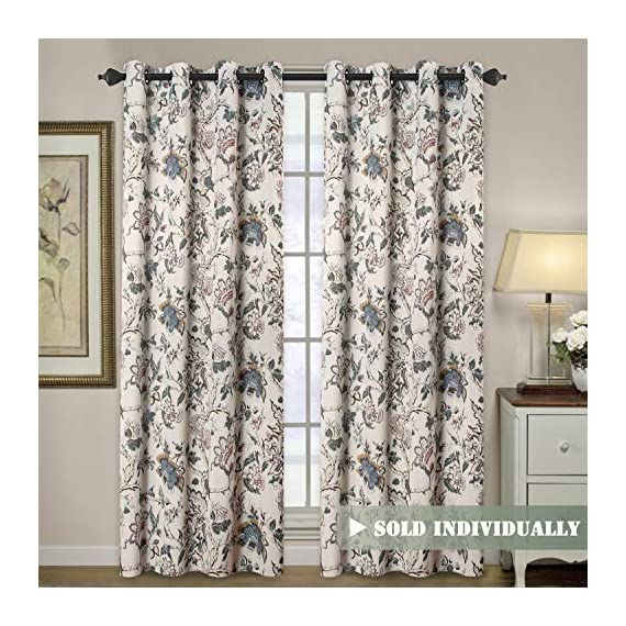 "H.VERSAILTEX Blackout Curtains for Living Room Thermal Insulated Curtain Drapes for Bedroom/Dining Vintage Floral Printed Grommet Draperies (1 Panel, 52"" W x 96"" L, Sage/Beige/Brown/Blue) - HYPOALLERGENIC MATERIAL: Crafted from microfiber fabric, soft, silky and smooth, skin-friendly, formaldehyde vinyl free, add the peaceful environment, you will definitely enjoy sweet dreams NATURAL BLACKOUT: This magic lovely individually sold curtain panels is thick enough and constructed with interwoven thermal technology, no chemical coating, while still can block out 90% sun light and prevent 100% UV ray SMART FUNCTION: These charming decorative energy-saving window treatments are functional and fashionable, have high features on thermal insulated, room darkening, energy efficient, noise reducing and privacy adding - living-room-soft-furnishings, living-room, draperies-curtains-shades - 61MKaVqrp9L. SS570  -"