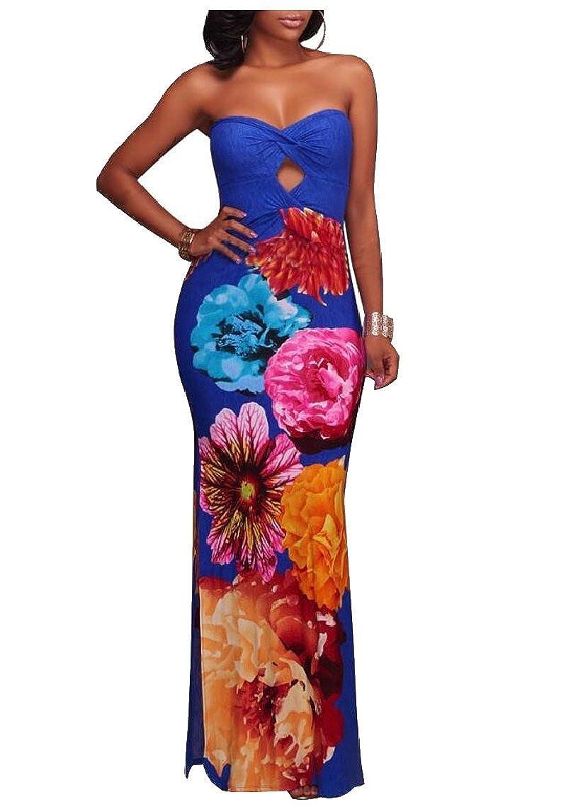 yibiyuan Womens Off Shoulder Floral Printed Openwork Bodycon Dress Stylish Bandeau Dress