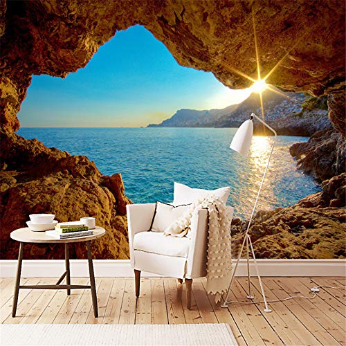 hwhz Custom Mural Wallpaper 3D Stereo Seaside Landscape Reef Cave Fresco Living Room Bedroom Space Expansion Background Wall Paper 3D-350X250Cm by hwhz (Image #2)