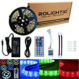 RoLightic 5M 16.4ft Led Strip Lights Waterproof 5050 RGB Color Changing Flexible Led Light Strip + 44Key Remote Controller + 12V 5A Power Supply
