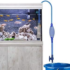 Number-One Fish Tank Cleaner, Aquarium Water Changer Gravel Filter Aquarium Siphon Vacuum Pump Water Changing Sand Washing Adjustable Water Flow with Inbuilt Strainer Outlet Valve Pumping Airbag
