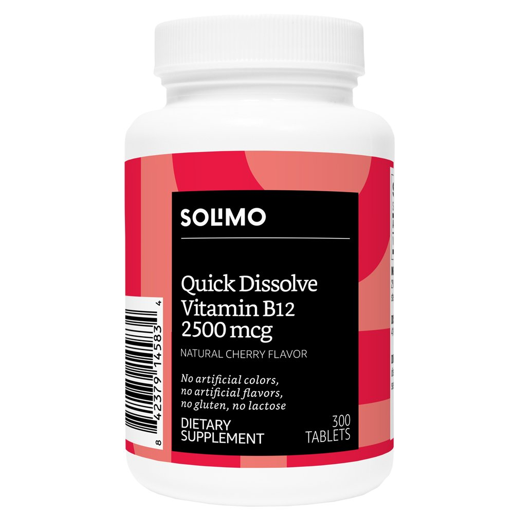 Amazon Brand - Solimo Quick Dissolve Vitamin B12 2500mcg, Natural Cherry Flavor, 300 Tablets, Ten Month Supply