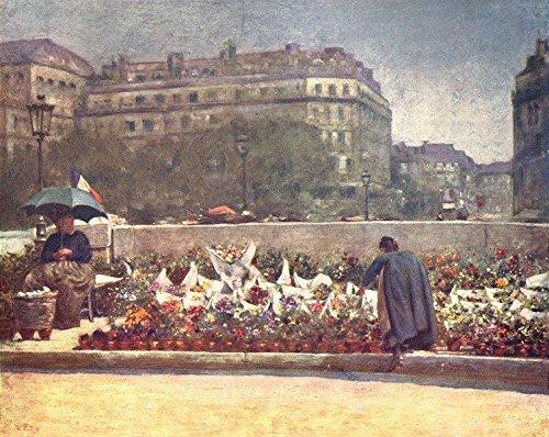 - PARIS. A Flower Market - 1909 - old print - antique print - vintage print - Paris art prints