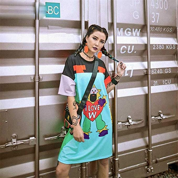 POINNC Women Dress Fashion Harajuku Women Clothing Summer Personal Letter Print Casual Street at Amazon Womens Clothing store: