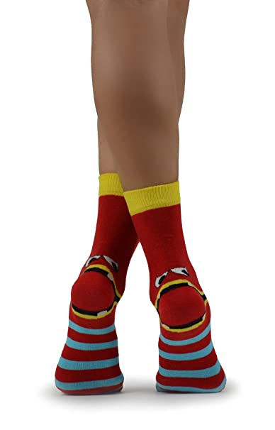 Calcetines divertidos exclusivos para mujeres Print Big Tongue Red Striped Funny Ankle Socks …