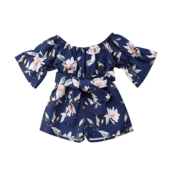 Toddler Girls Rompers and Jumpsuits Off Shoulder Floral Outfits for Toddler Girls