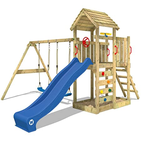 WICKEY Climbing Frame MultiFlyer Playground with Wooden roof Swing ...