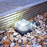 TechCode Solar Garden Lamp, Solar Powered Outdoor LED Lights Waterproof Ground Crystal Glass Ice Brick Garden Lighting Landscape Security Lamp for Garden Home Landscape Holiday Decorations(White)