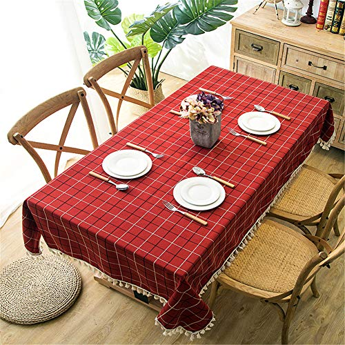(Eanpet Checkered Tablecloth Tassel Rectangle Linen Table Cloth Waterproof Desktop Cabinet Tabletop Cover for Dining Room Kitchen Office Laundry Thanksgiving Decor Picnic Pad (Red 55x55 Inch))