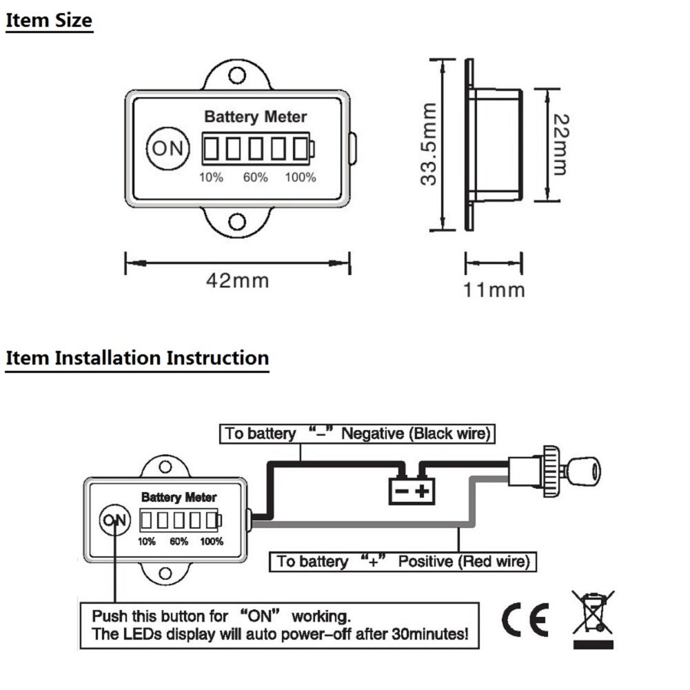 36v Battery Indicator Wiring Diagram Circuit Schema Car Searon 12 24v Volt Led Level Meter Gauge For E 1998 Ez Go