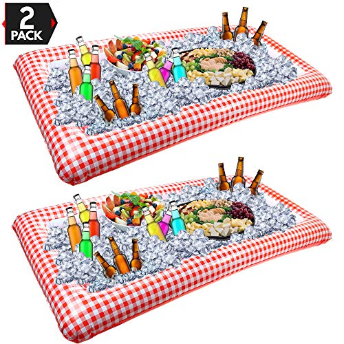 Outdoor Inflatable Buffet Cooler Server - Red and White Blow Up Cooling Tub for Serving Buffet Style Picnic - Pack of 2