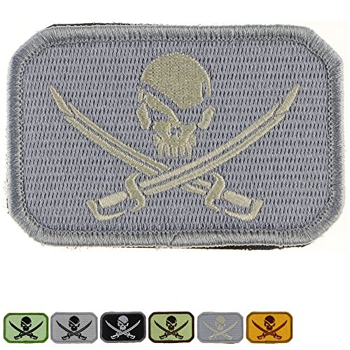 Tactical Patch : Pirate Skull and Cross Swords (White on Gray) (Pirate Halloween Sayings)
