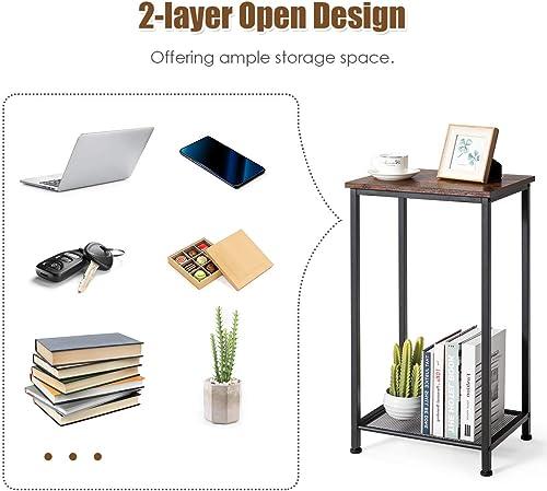 Giantex End Table Telephone Industrial Table 2-Tier W/Adjustable Feet