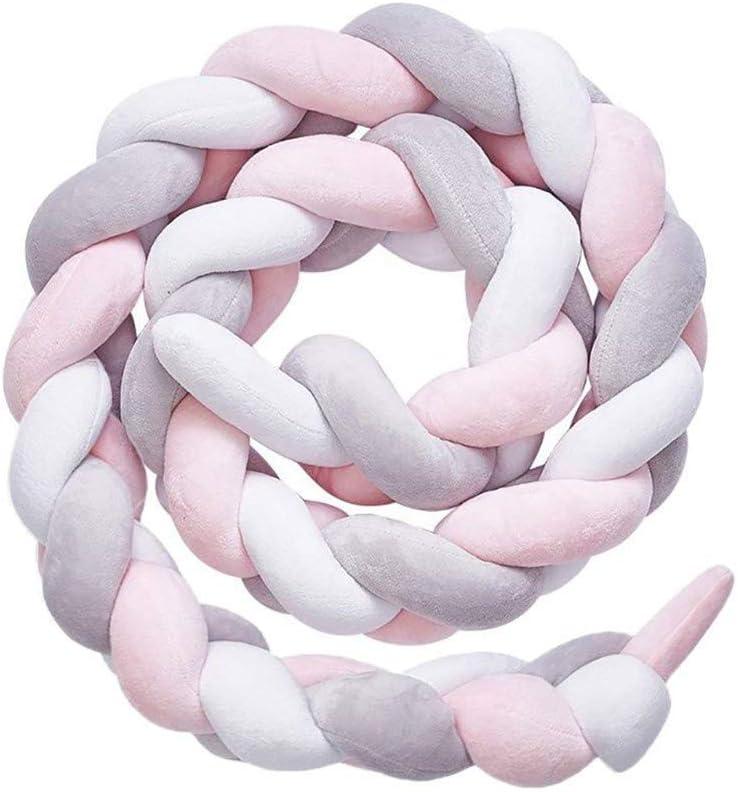 QINGLOU protector de cabeza para cuna trenzado Parachoques nudo largo Almohada para Unisex-adulto (Blanco + rosa + gris, 200cm)
