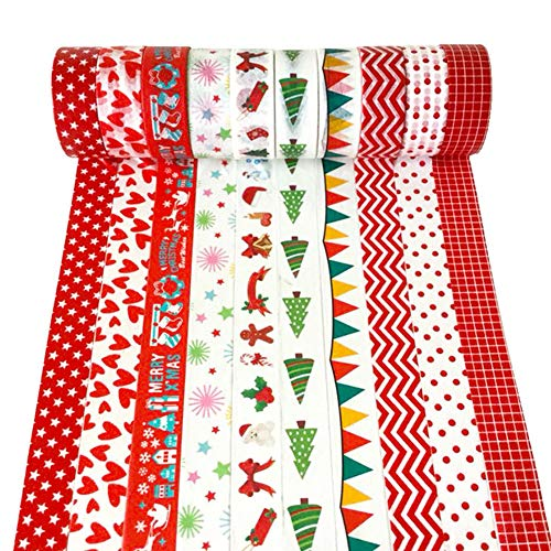 YaptheS 10 Rolls of Christmas Paper Tape Set, Merry Christmas Series of Masking Tape Art Craft Gift Packaging Gift Packaging Christmas Party Decorations Christmas Party Discount -