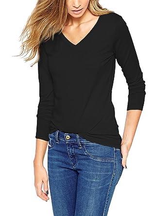 463b3073ade0 ISASSY T-shirt Femme Manches Longues Basique Top Haut Col V - Noir - FR34