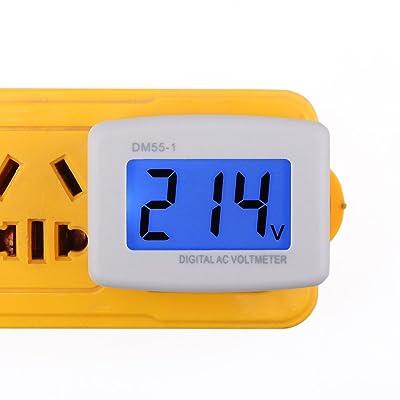 DROK 90538 Flat Plug AC 80-300V Voltage Panel Power Line Volt Test Monitor Gauge Meter AC 110V 220V Digital LCD Voltmeter: Industrial & Scientific