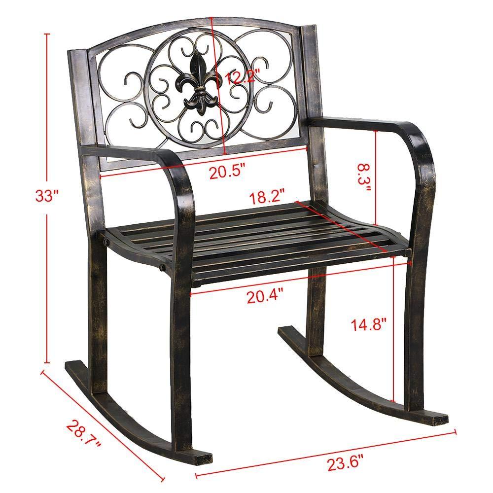 Yaheetech Metal Patio Rocking Chair Heavy Duty Rocking Chair Front Porch Outdoor Patio Rocker Seat Cart Bronze