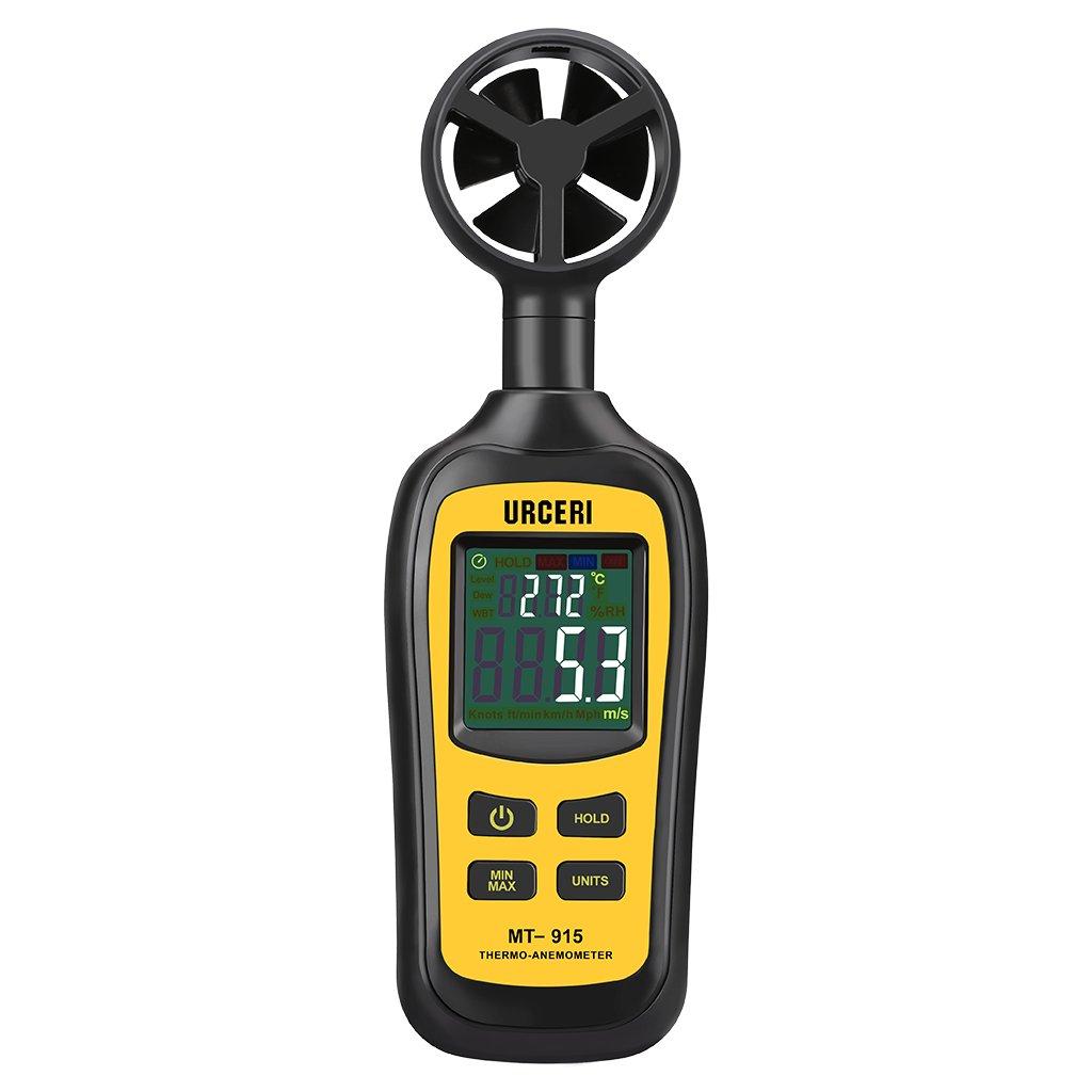 URCERI Anémomètre Numérique Portatif, Thermo-Anémomètre pour mesurer la température de vitesse du vent avec données min/max, indication de batterie faible, unités multiples, écran couleur