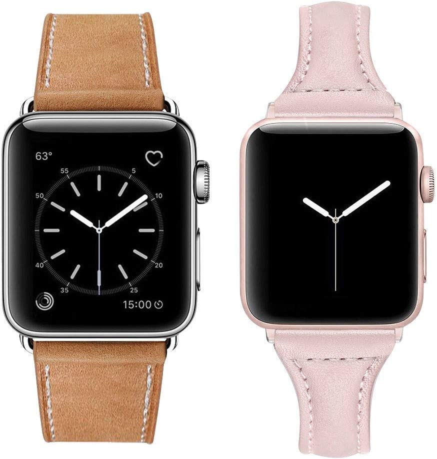 MARGE PLUS Compatible with Apple Watch Genuine Leather Band 42mm 44mm Brown & Compatible Apple Watch Band with Case 38mm 40mm Pink