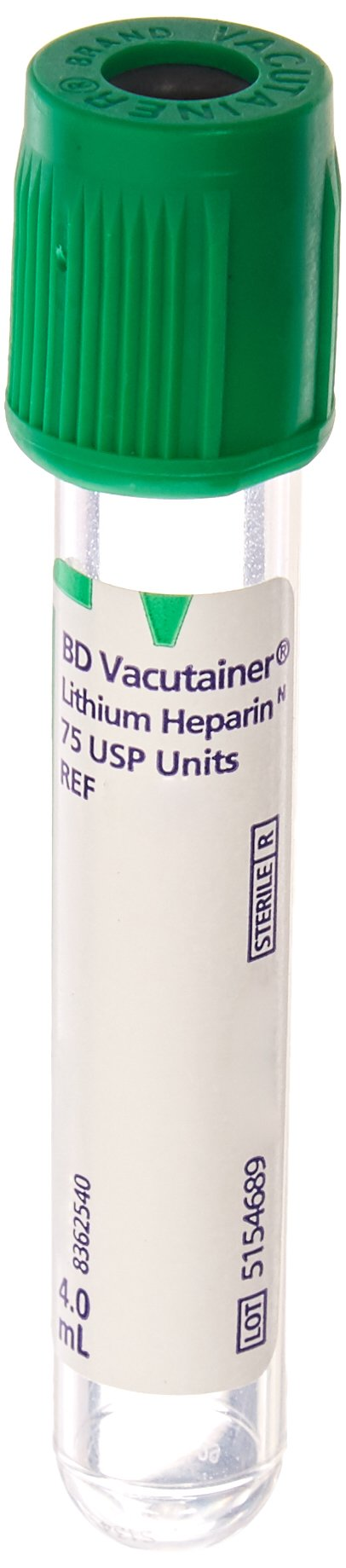 BD Medical Systems 367884 Tube with Paper Label, Additive Lithium Heparin, Hemogard Closure, Plastic, 13 mm x 75 mm Size, 4 mL Capacity, Green (Pack of 100)