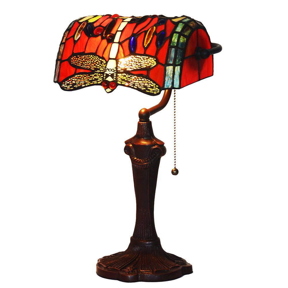 Bieye L10057 10-inches Dragonfly Tiffany Style Stained Glass Banker Table Lamp with Zinc Base (Red)