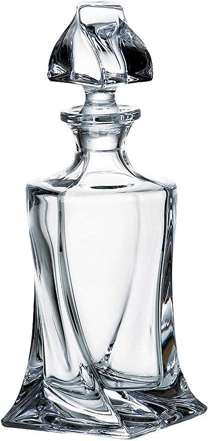 Crystal Glass Decanter Whiskey Cognac Vodka 17oz 500ml Quadro Vintage Carafe