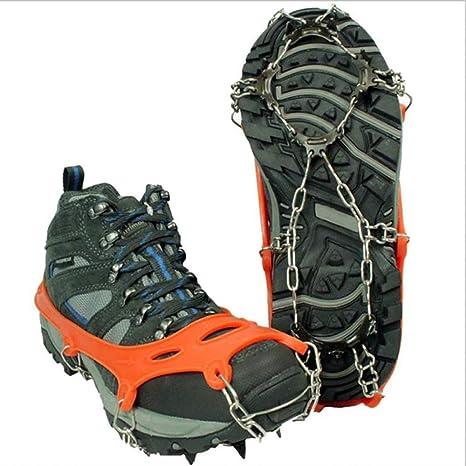 SMTWHEELS Crampones Tacos para Hielo Tracción Zapato Antideslizante Pinza para Hielo Nieve Invierno 12 Acero Inoxidable Escalada al Aire Libre