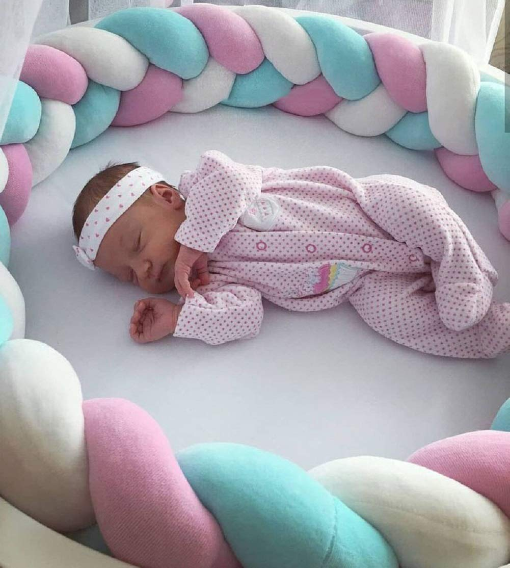 78 Inch//2M, Black Soft Pads Braided Infant Crib Bumper Knot,Pillow Cushion Cradle Decor for Girls and Boy